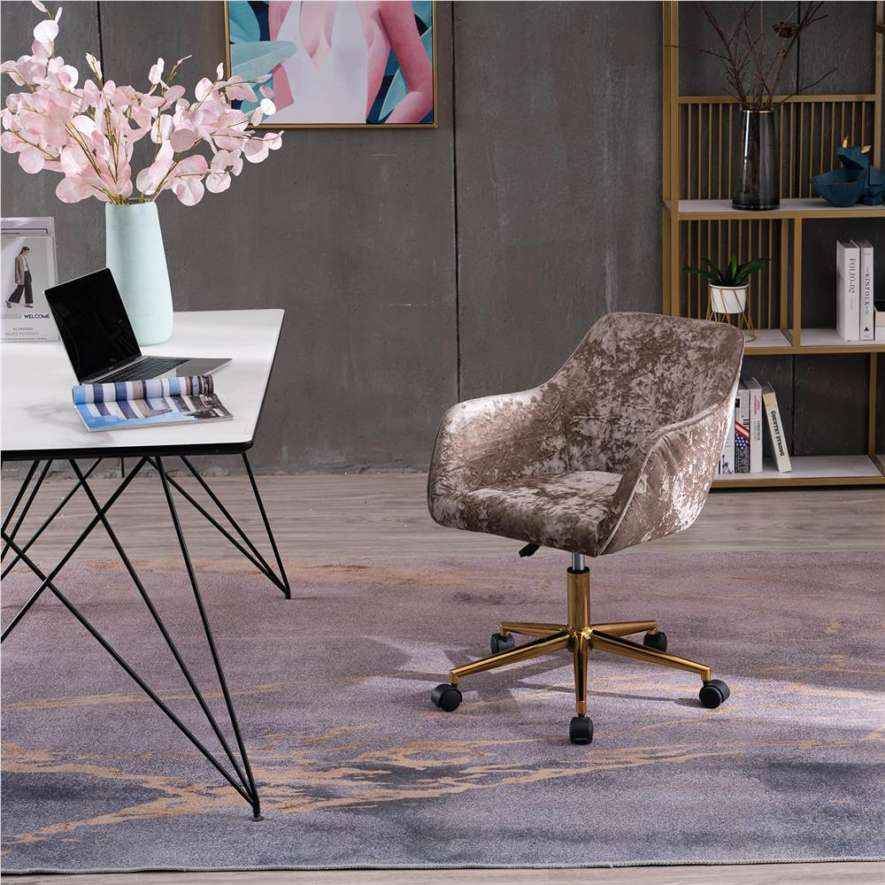 Velvet Rotating Chair Height Adjustable with Curved Backrest and Casters for Living Room, Bedroom, Office - Light Brown Crush