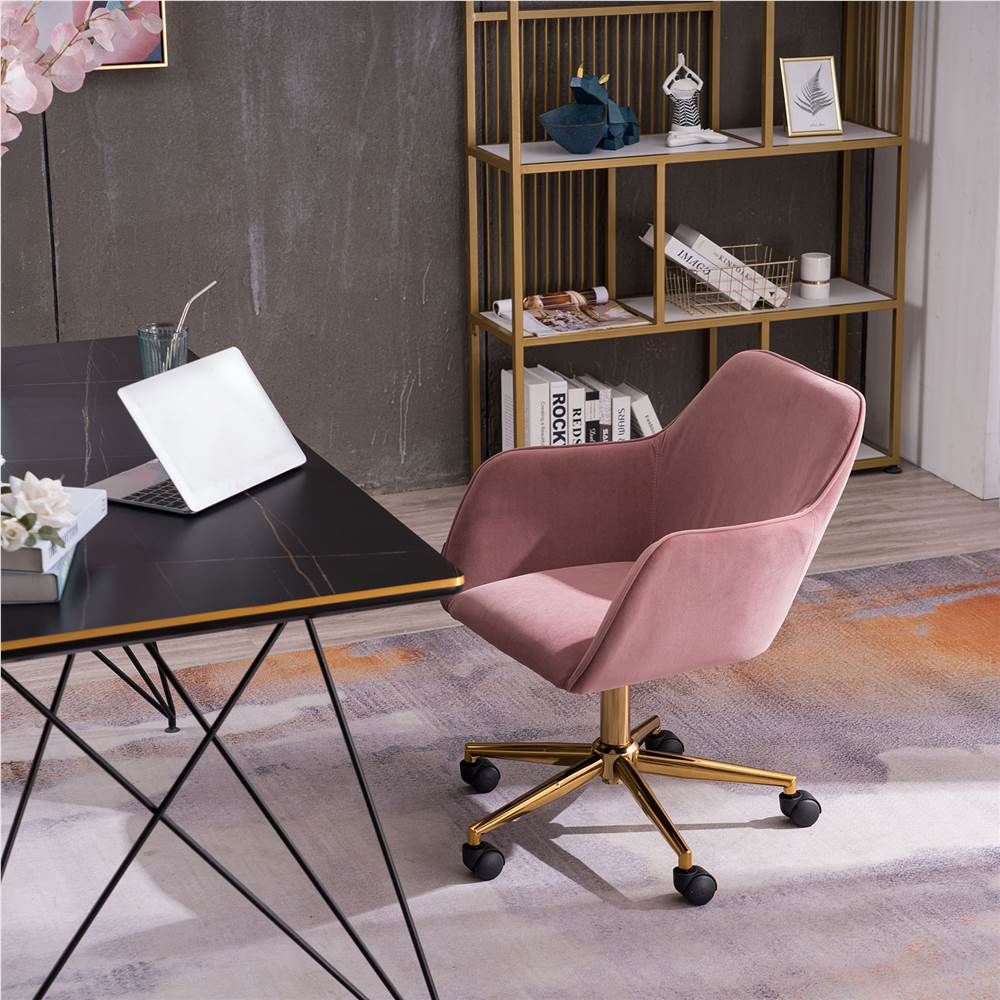 Velvet Rotating Chair Height Adjustable with Curved Backrest and Casters for Living Room, Bedroom, Office - Pink