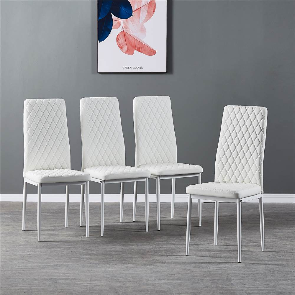 Diamond Grid Pattern Fire-retardant Leather Armless Chair Set of 4, Sprayed Metal Pipe Legs for Kitchen, Living Room, Office, Bedroom - White