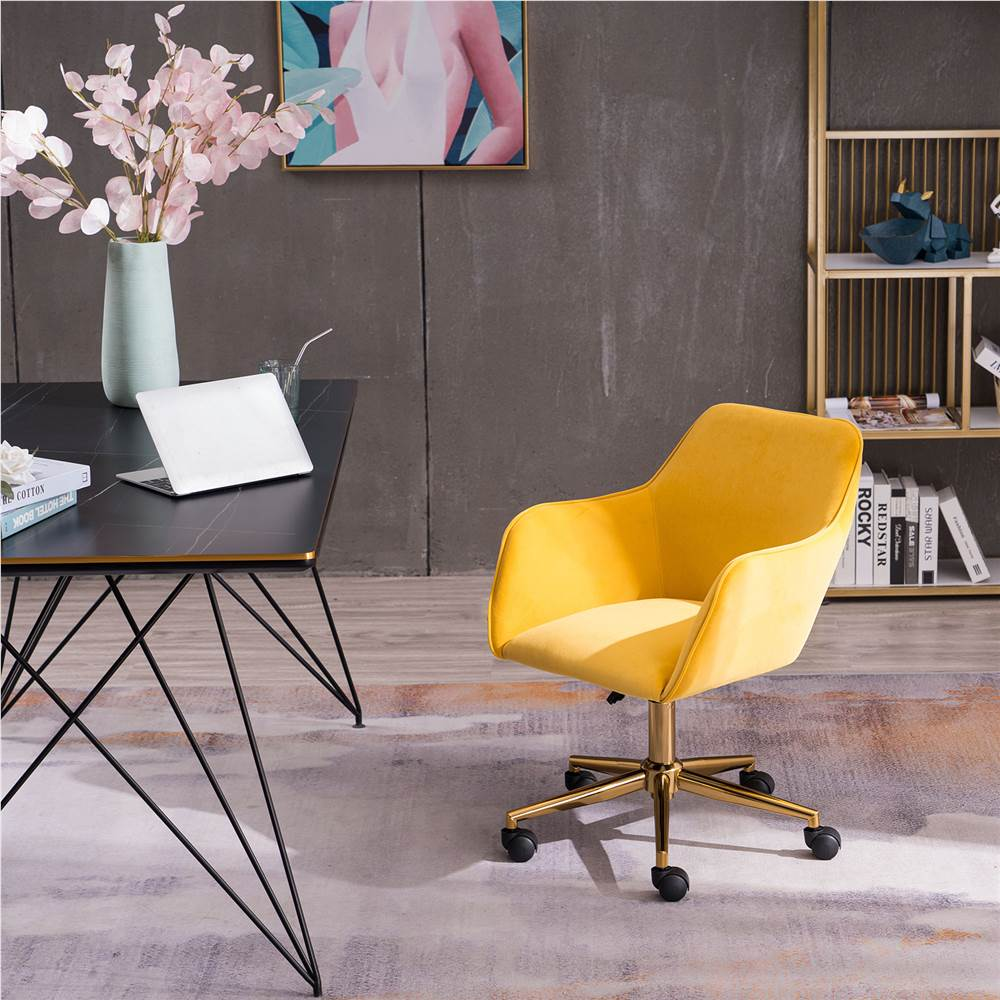 Velvet Rotating Chair Height Adjustable with Curved Backrest and Casters for Living Room, Bedroom, Office - Yellow