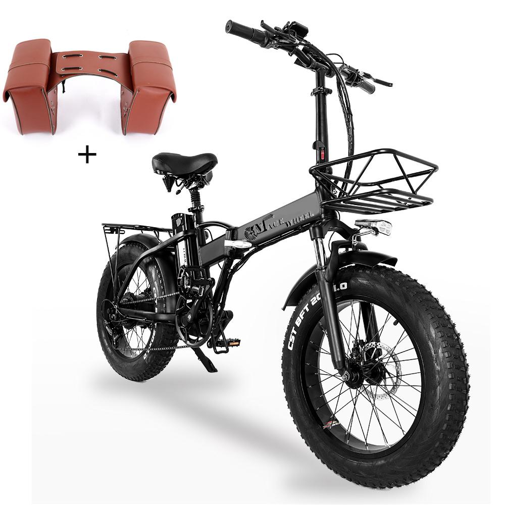 CMACEWHEEL GW20 összecsukható elektromos moped kerékpár 20 x 4.0 zsíros gumiabroncs Öt sebességgel 750 W-os motor 15Ah nagy akkumulátor 100 km-es hatótávolságig Max. Sebesség 45 km / h intelligens kijelző farokcsomaggal - fekete