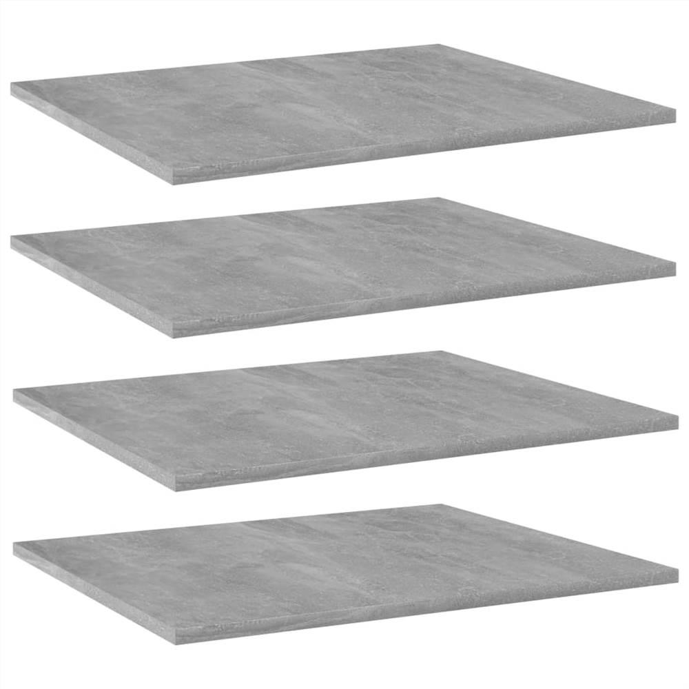 Bookshelf Boards 4 pcs Concrete Grey 60x50x1.5 cm Chipboard