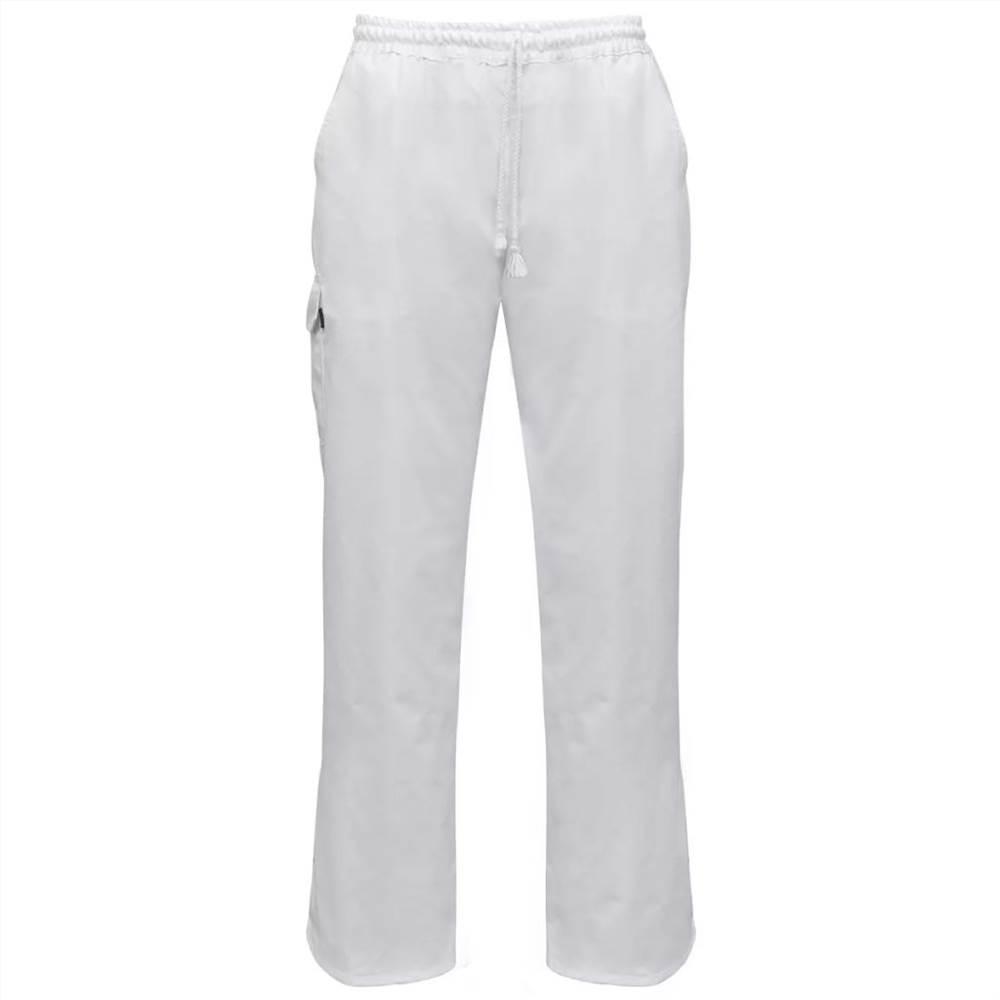 Pantalon de chef 2 pièces Ceinture extensible avec cordon Taille M Blanc