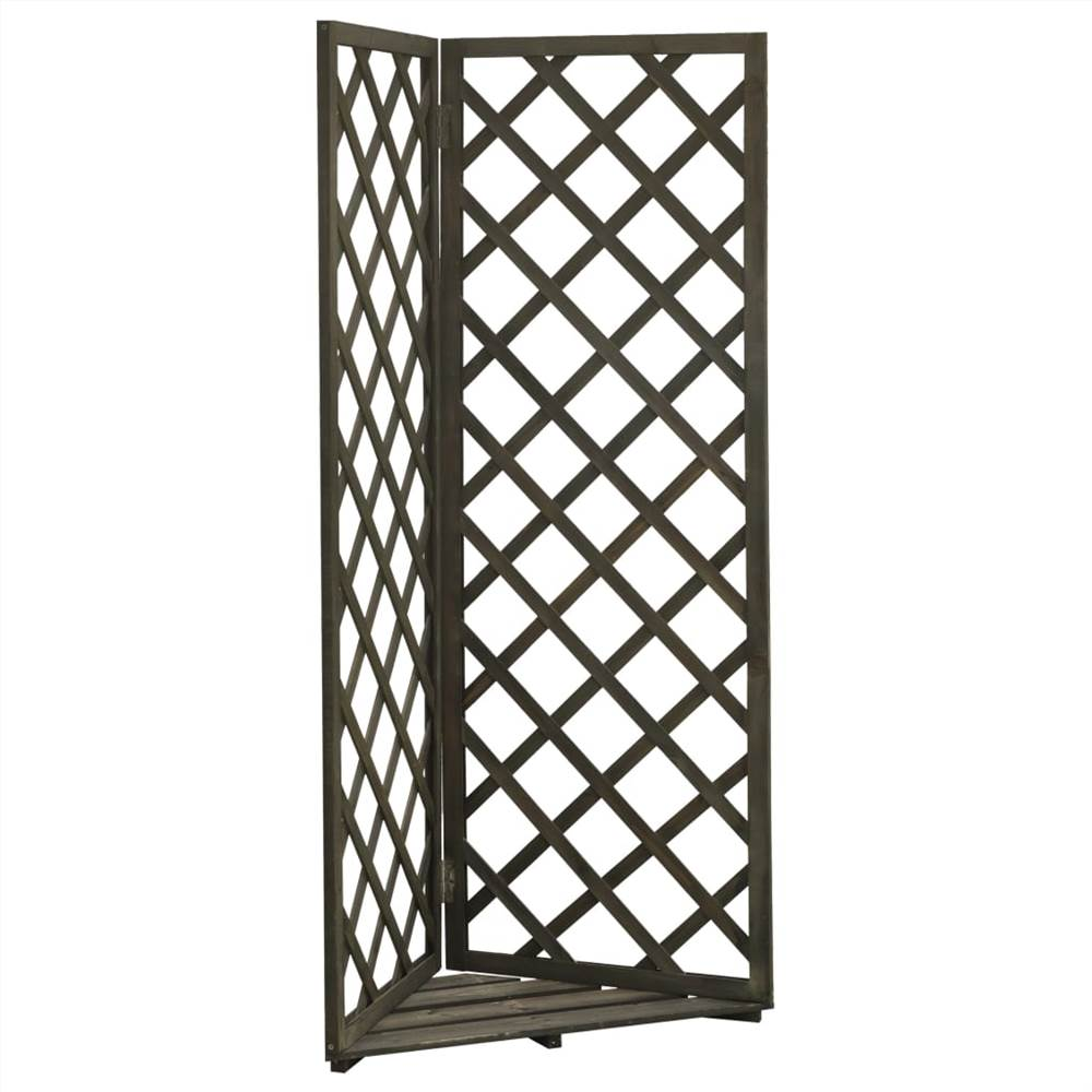 Corner Trellis Planter Grey 50x50x145 cm Solid Firwood