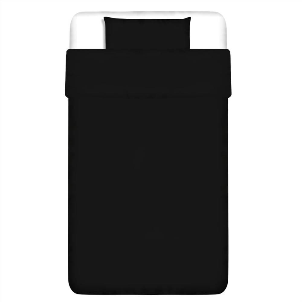 Παπλωματοθήκη Σετ Βαμβακερό Μαύρο 155x220 / 80x80 cm