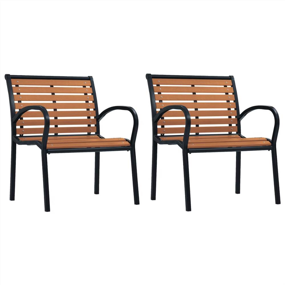 Garden Chairs 2 pcs Steel and WPC Black and Brown