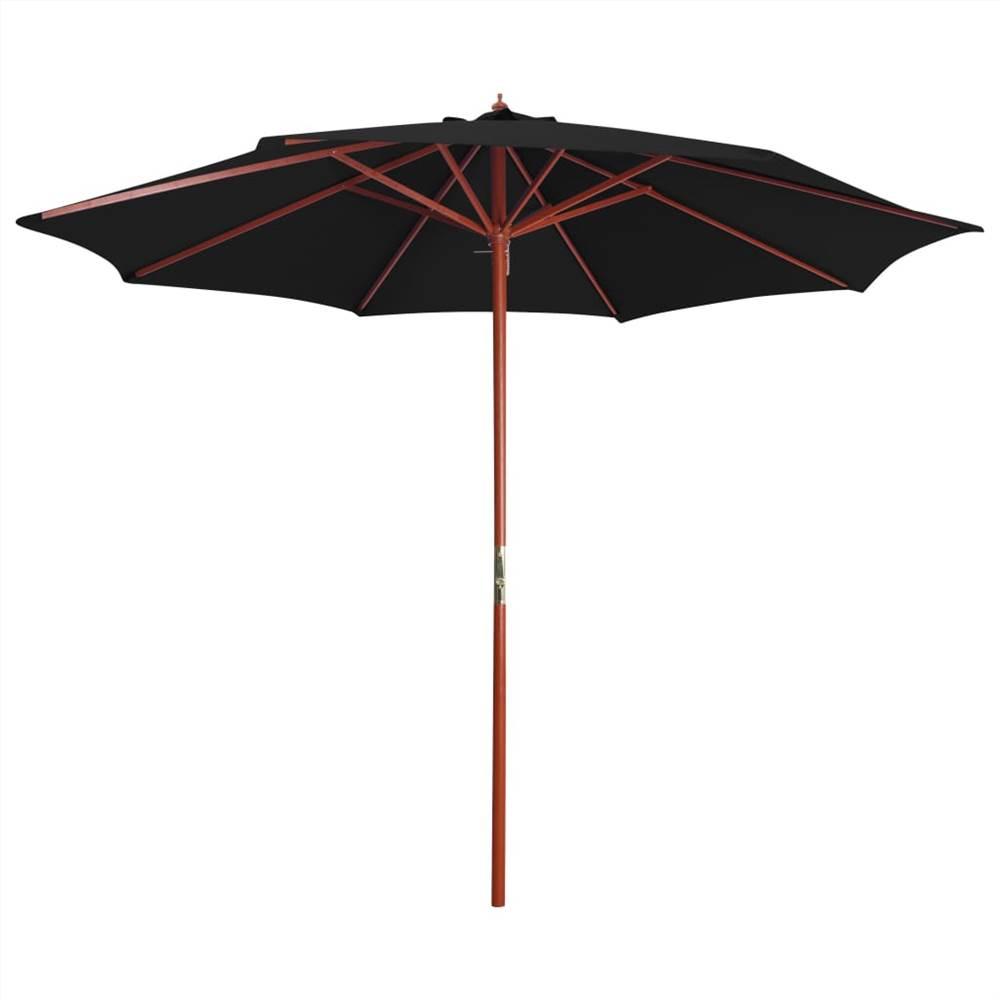 Parasol with Wooden Pole 300x258 cm Black