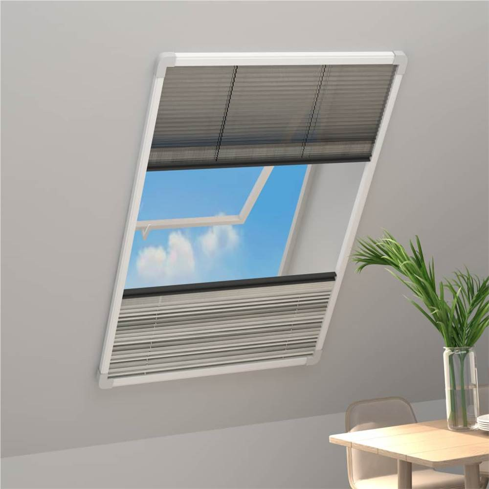 Plisse Insect Screen for Windows Aluminium 100x160cm with Shade