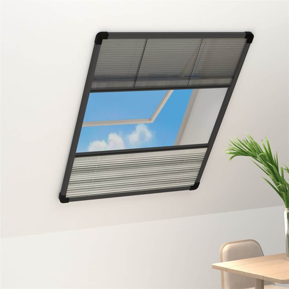 Plisse Insect Screen for Windows Aluminium 80x120 cm with Shade