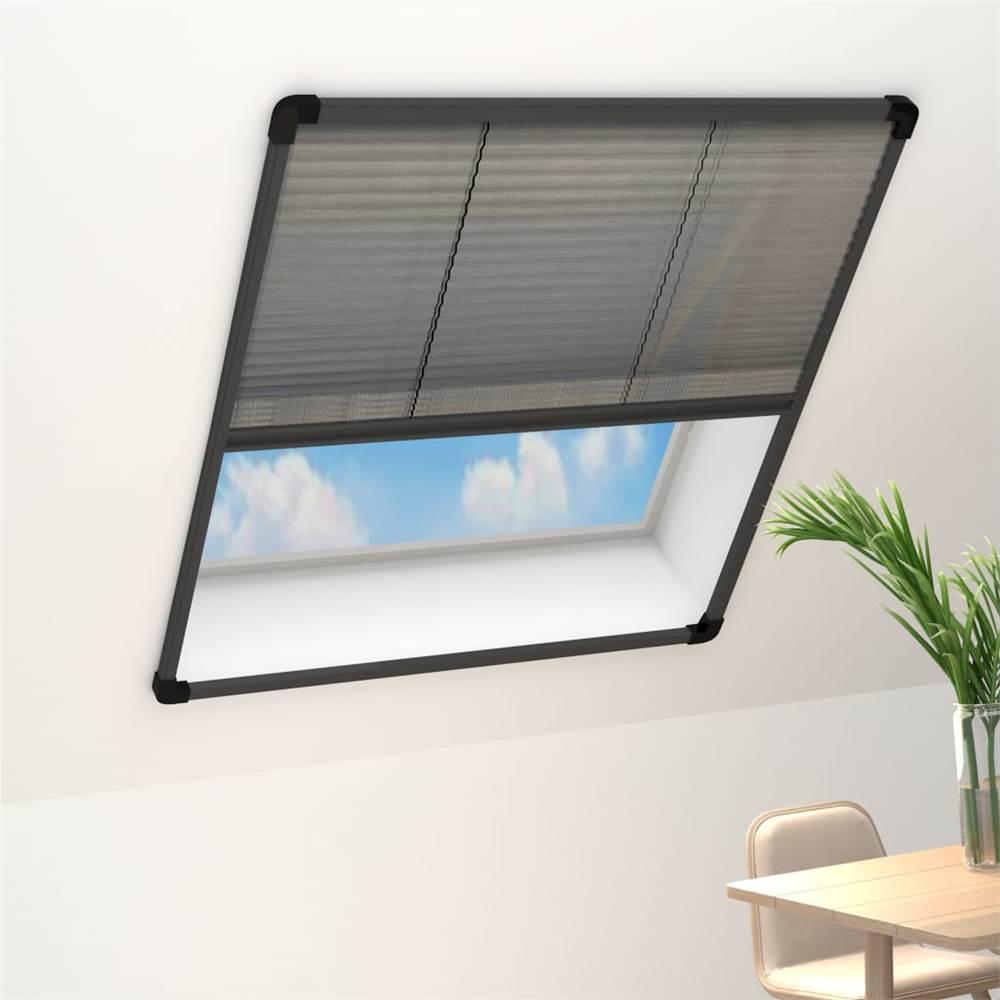 Plisse Insect Screen for Windows Aluminium Anthracite 120x160cm