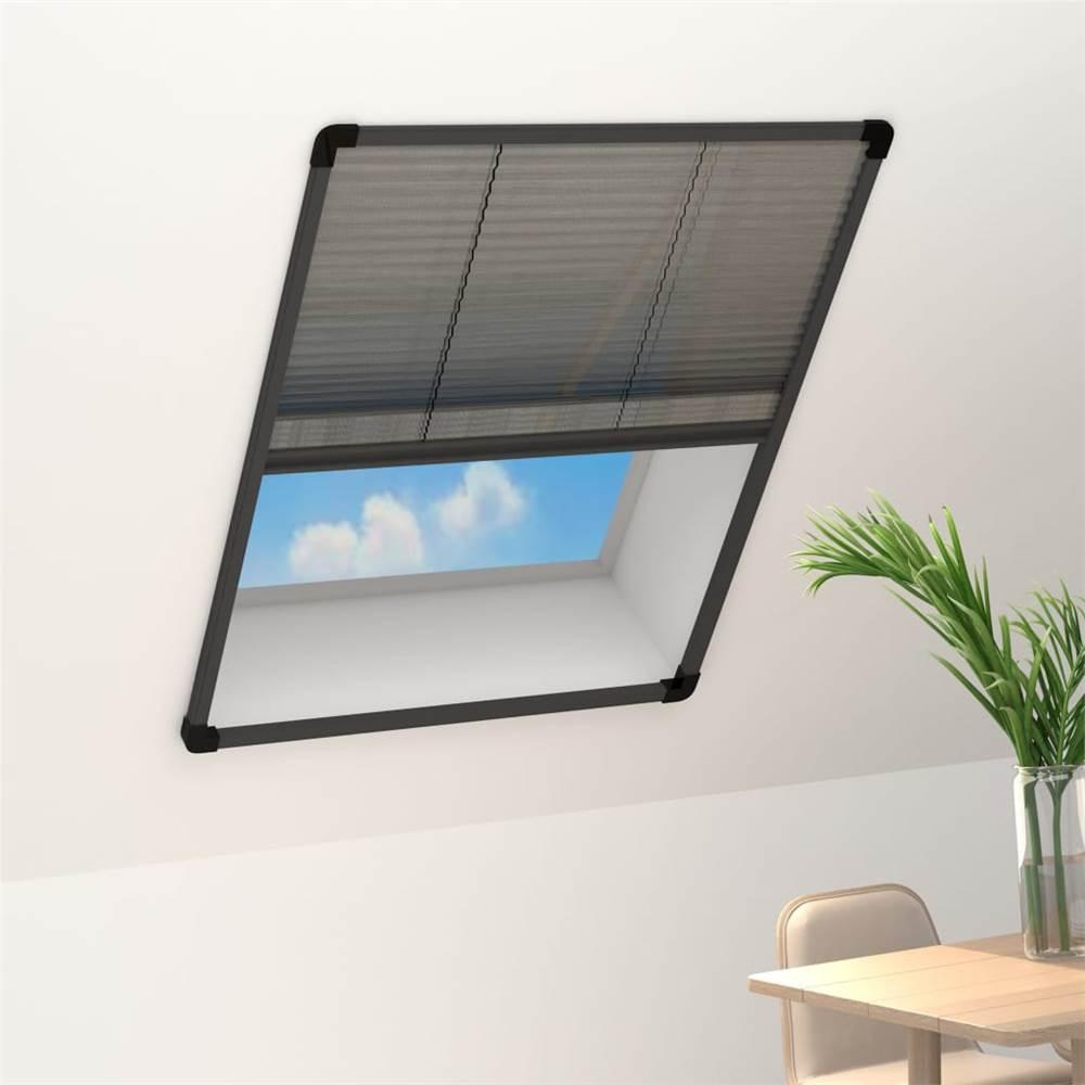 Plisse Insect Screen for Windows Aluminium Anthracite 80x100 cm
