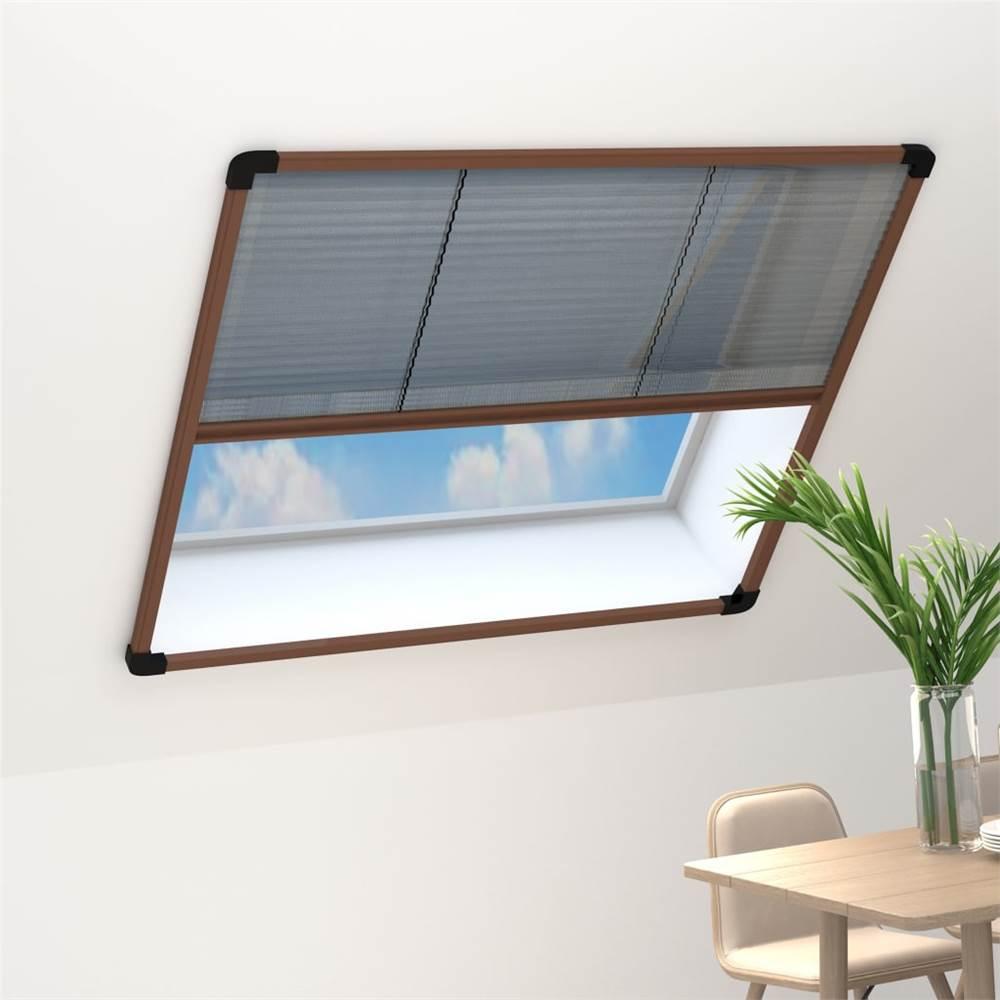 Plisse Insect Screen for Windows Aluminium Brown 130x100 cm