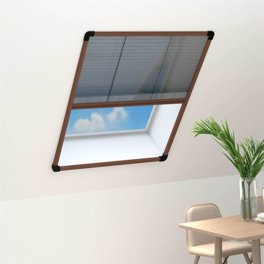 Plisse Insect Screen for Windows Aluminium Brown 80x100 cm