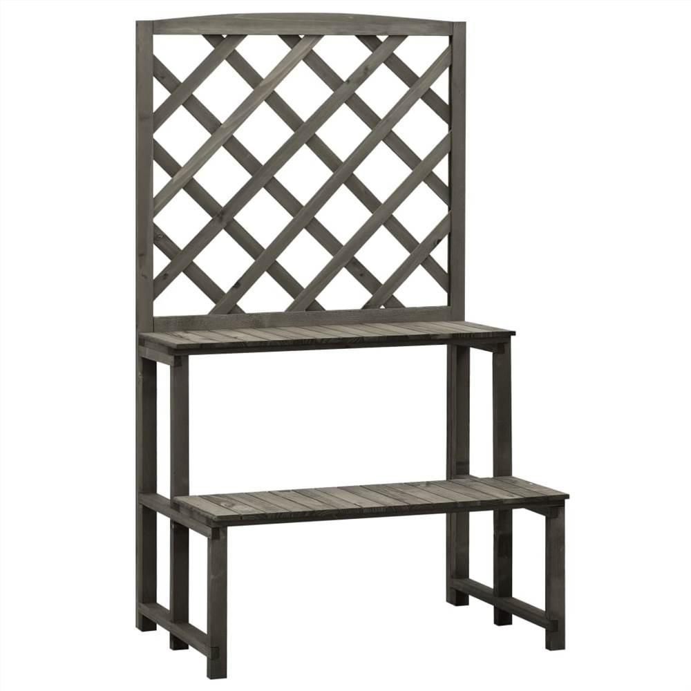 Trellis Planter with Shelves Grey 70x42x120 cm Solid Firwood
