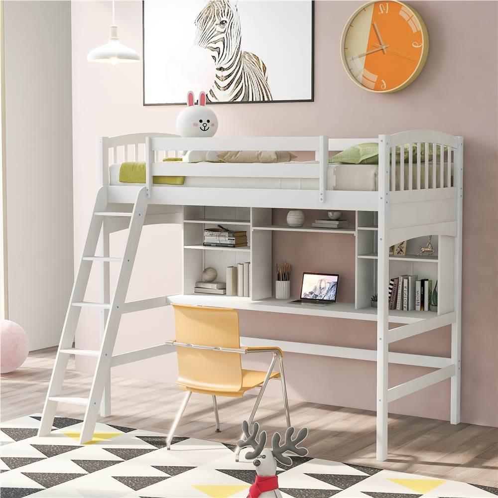 Cadre de lit mezzanine en bois double avec bureau, étagère, échelle et garde-corps pour petites pièces - Blanc
