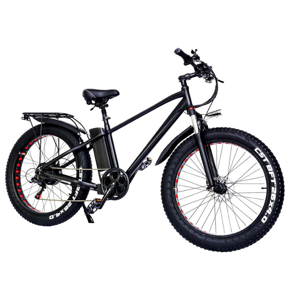 CMACEWHEEL KS26 Plus Elektro-Moped-Fahrrad 26 x 4 Zoll Fettreifen Drei Modi 750 W Motor Höchstgeschwindigkeit 45 km / h 24 Ah Batterie Batterie bis 100 km Reichweite Scheibenbremse - Schwarz