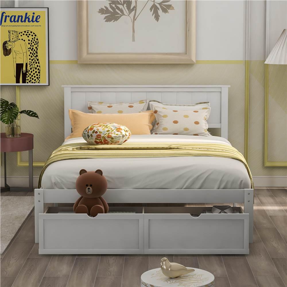 Cadre de lit double en bois avec tiroir de rangement sous le lit - Blanc