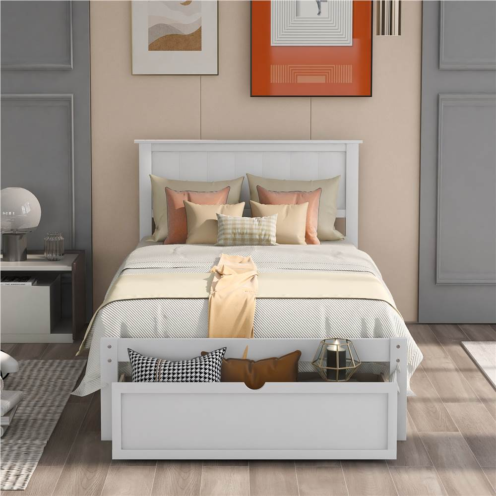 Cadre de lit simple en bois avec tiroir de rangement sous le lit - Blanc