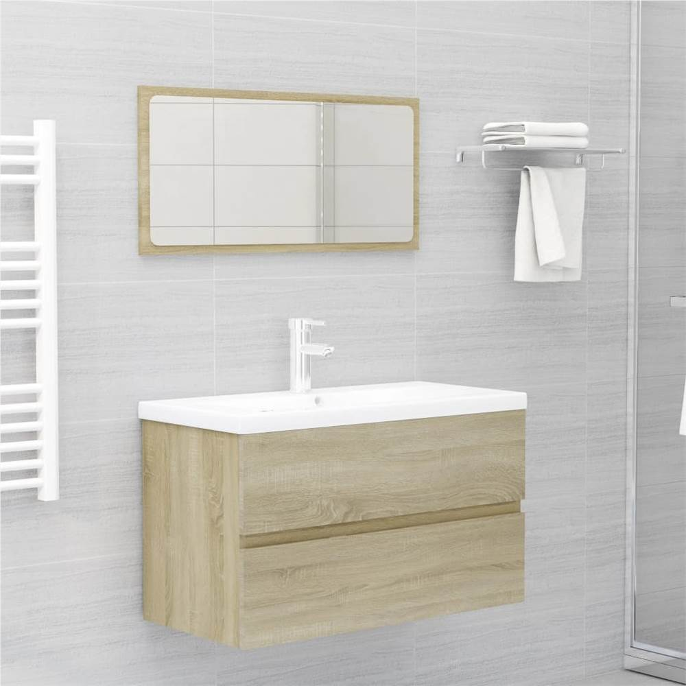 Ensemble de 2 meubles de salle de bain en aggloméré de chêne Sonoma