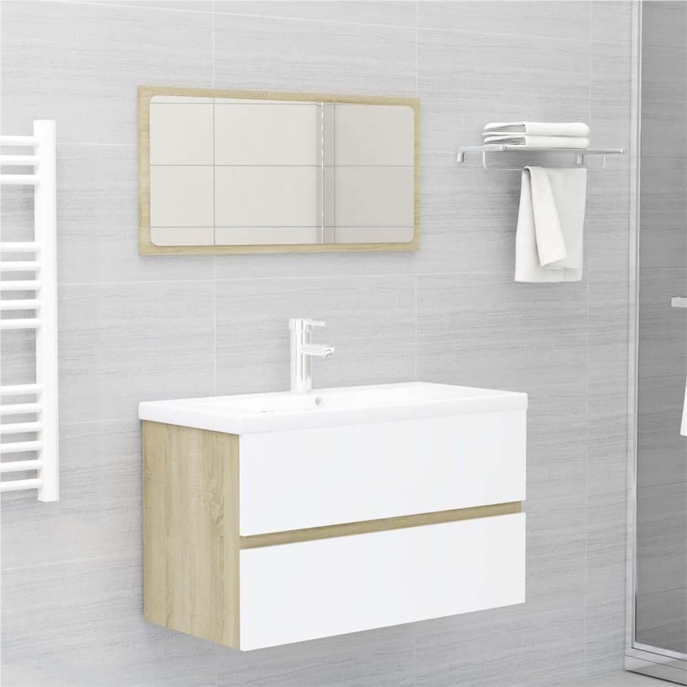 Ensemble de 2 meubles de salle de bain en aggloméré blanc et chêne Sonoma