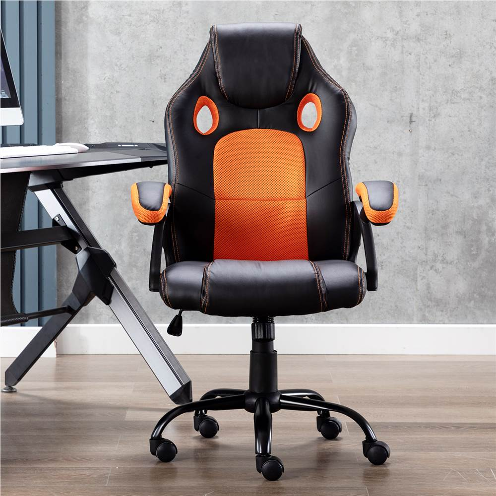 Art Life Home Office PU Leather Rotatable Gaming Chair Height Adjustable with Ergonomic Backrest and Casters - Black + Orange