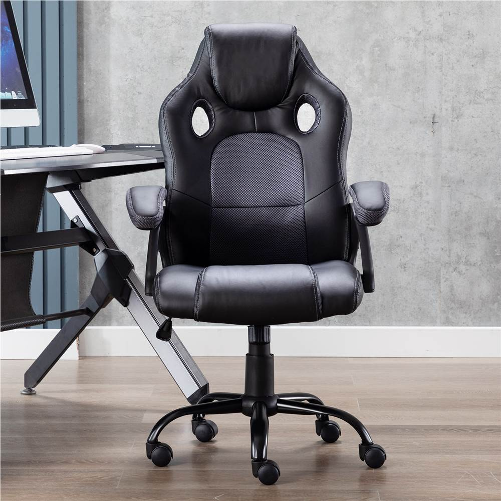 Art Life Home Office PU Leather Rotatable Gaming Chair Height Adjustable with Ergonomic Backrest and Casters - Dark Grey