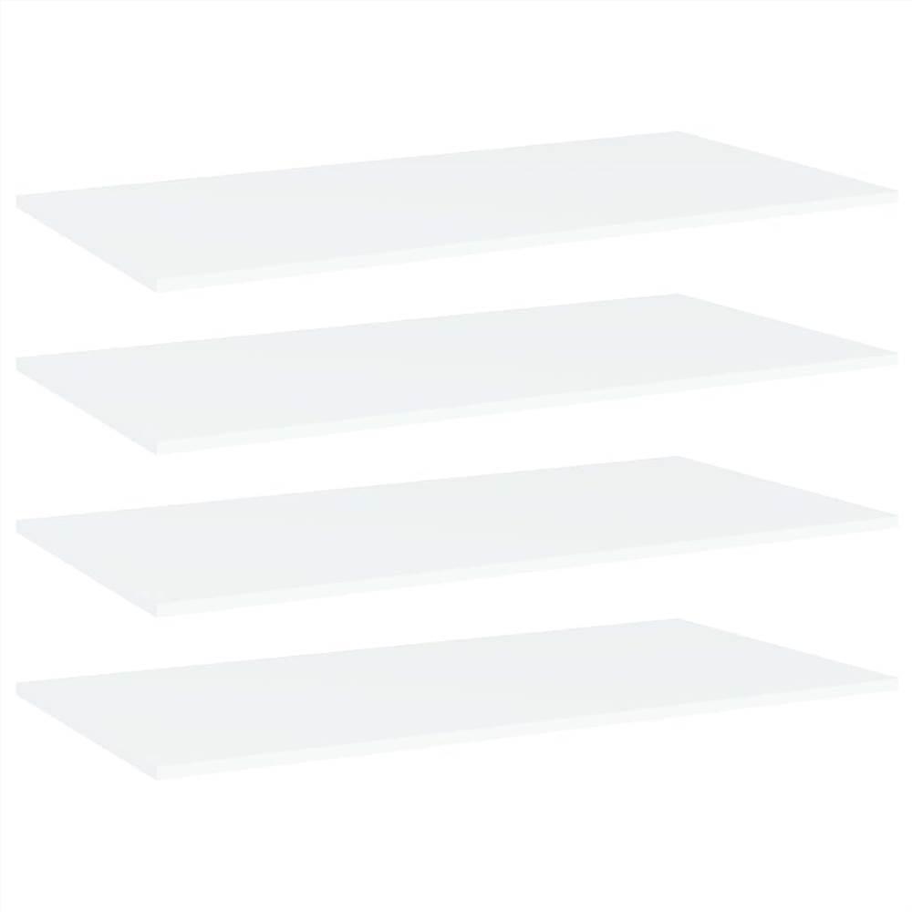 Planches étagères 4 pcs Blanc 80x20x1.5 cm Aggloméré