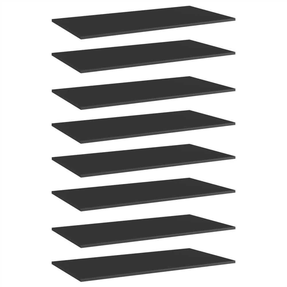 Planches de bibliothèque 8 pcs Noir brillant 80x20x1.5 cm Aggloméré