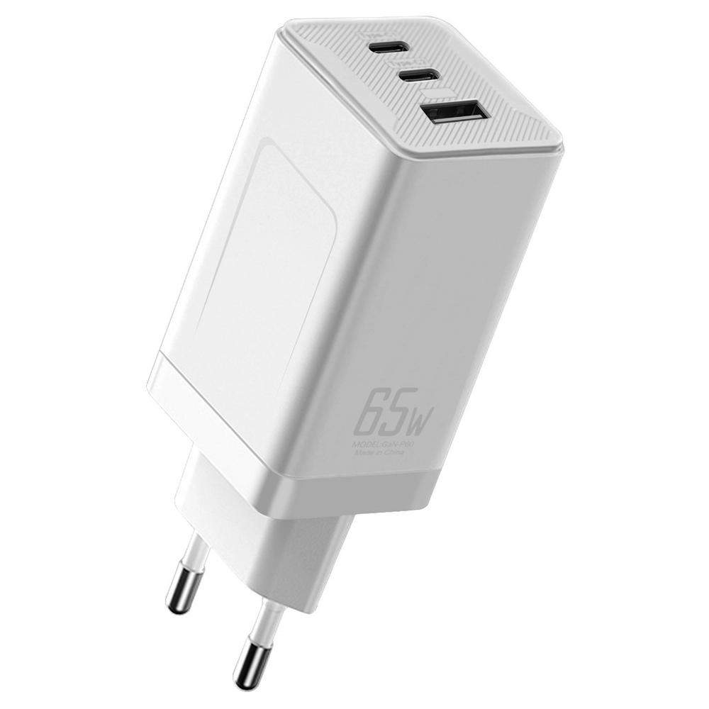 GaN-P60 GaN 65W USB C Зарядное устройство Quick Charge 3.0 QC3.0 PD3.0 USB-C Type C Быстрое USB-зарядное устройство для iPhone 12 Pro Max Macbook для планшетного ноутбука Ноутбук - белый штекер ЕС