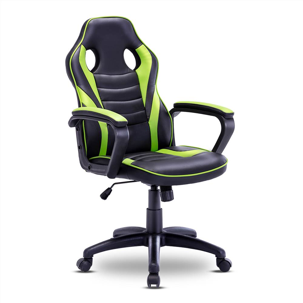 Home Office PU Leather Rotatable Gaming Chair Height Adjustable with Ergonomic Backrest and Casters - Green