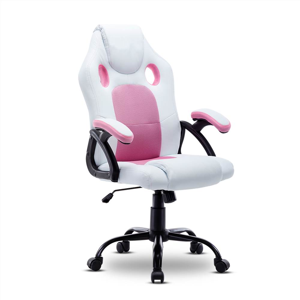 Home Office PU Leather Rotatable Gaming Chair Height Adjustable with Ergonomic Backrest and Casters - Pink+White