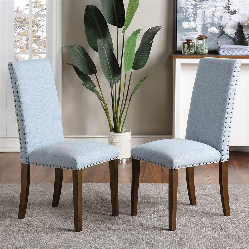 Orisfur Linen Upholstered Chair Set of 2, with Copper Nails and Solid Wood Legs for Dining Room, Living Room, Bedroom, Office - Blue