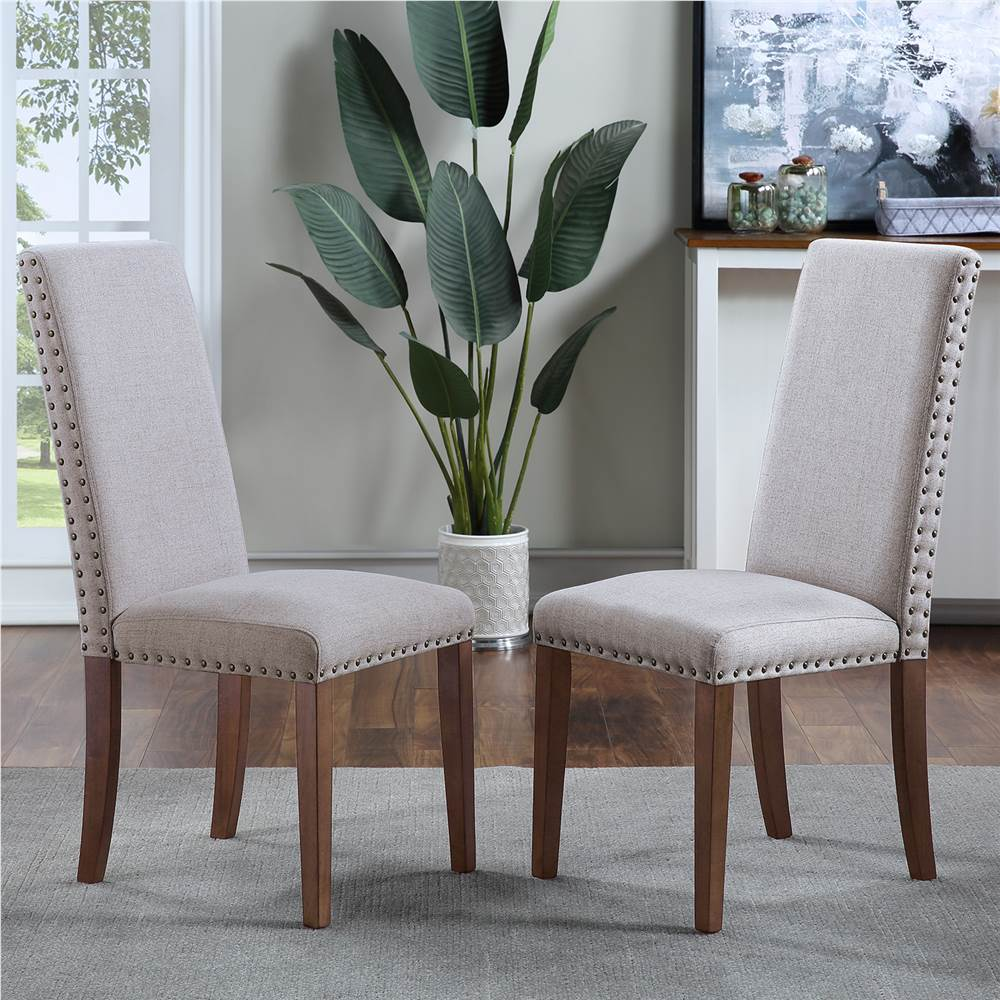 Orisfur Ensemble de 2 chaises rembourrées en lin, avec clous en cuivre et pieds en bois massif pour salle à manger, salon, chambre à coucher, bureau - Gris