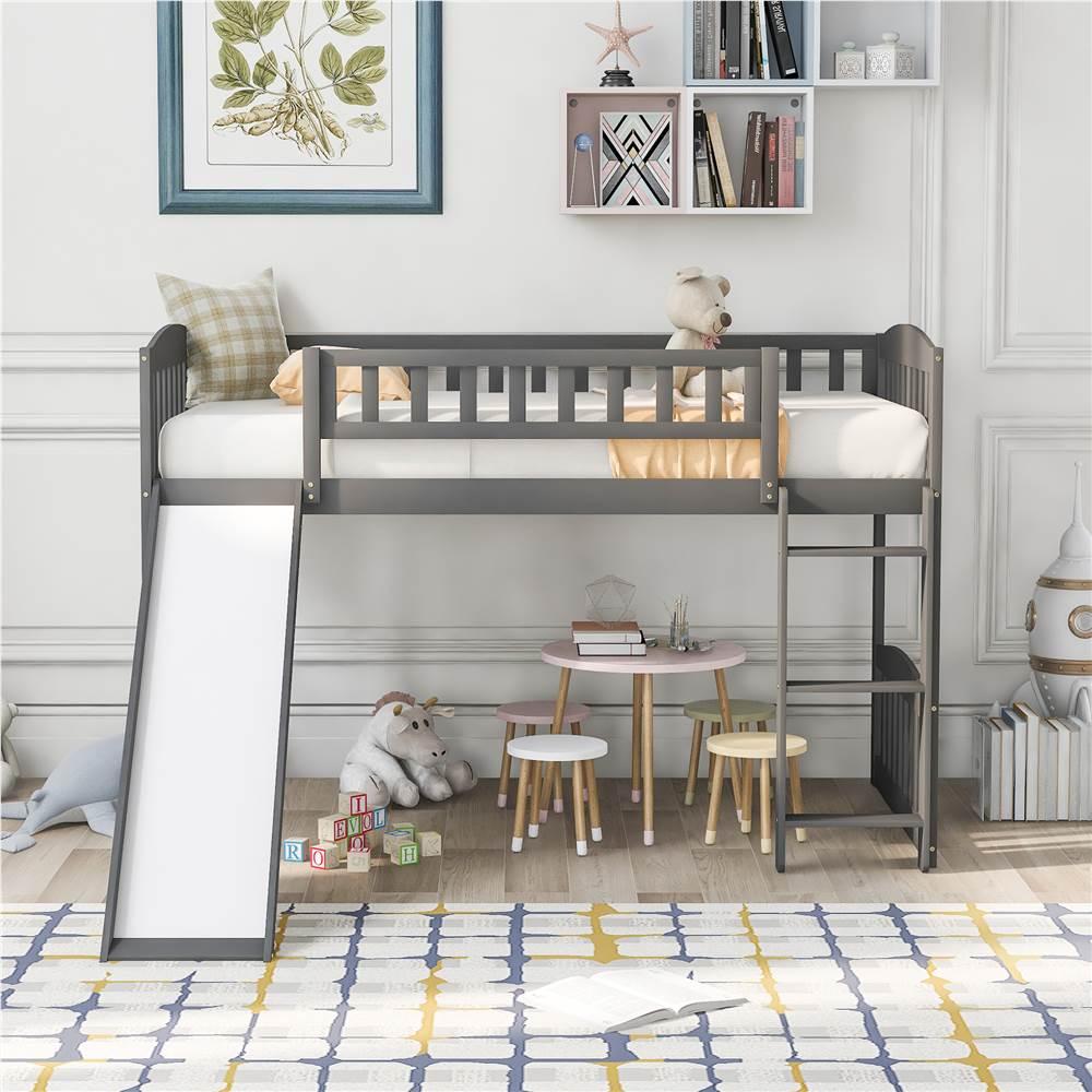 Cadre de lit mezzanine en bois de taille simple avec échelle et glissière adaptée aux petites pièces - Gris