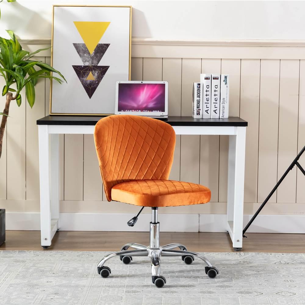 ホームオフィスベルベットスイベルチェアの高さは、リビングルーム、ベッドルーム、オフィス用の湾曲した背もたれとキャスターで調整可能-オレンジ