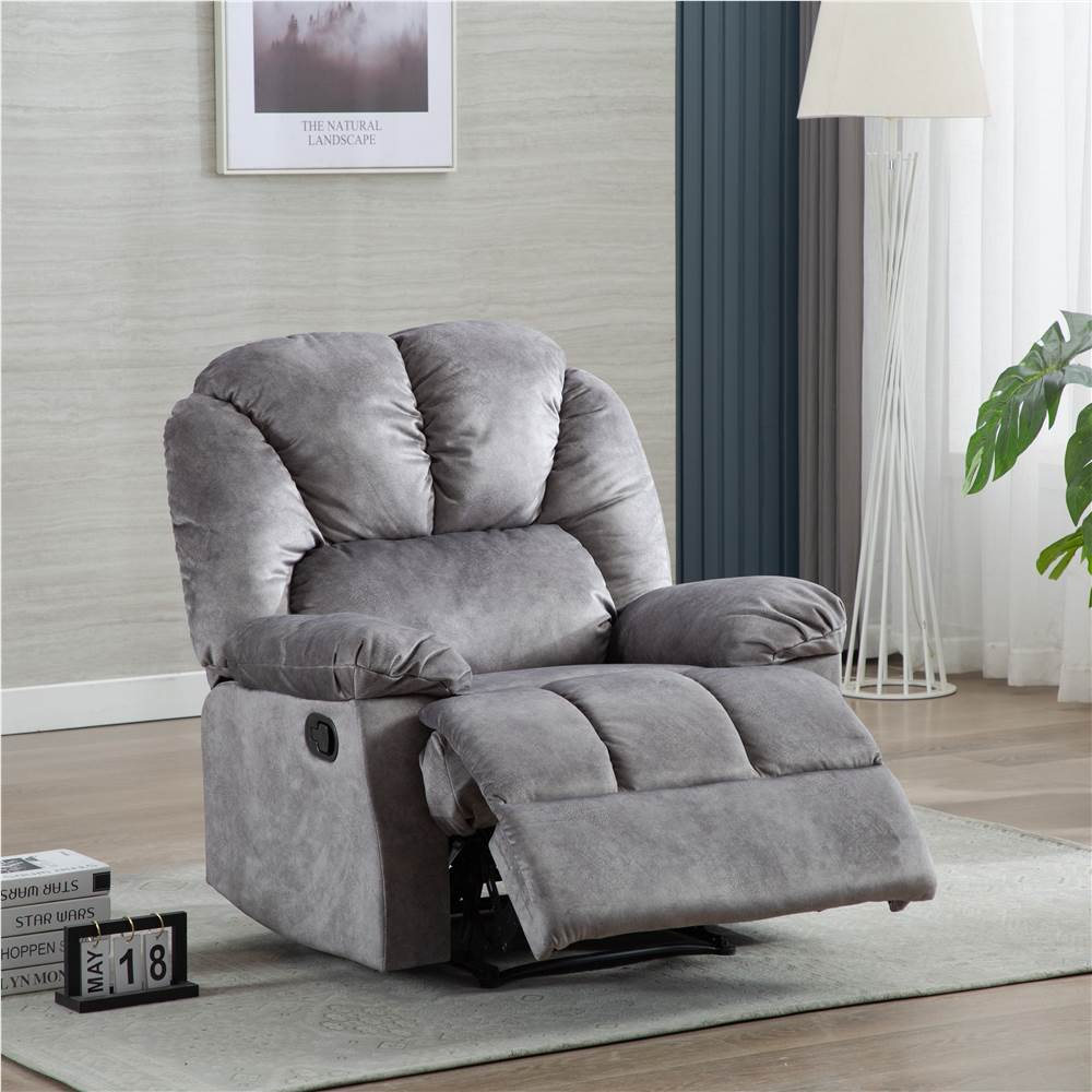 Velvet Recliner with Armrests and Reclining Backrest Wooden Frame for Living Room, Bedroom, Theater, Office - Grey, Other  - buy with discount