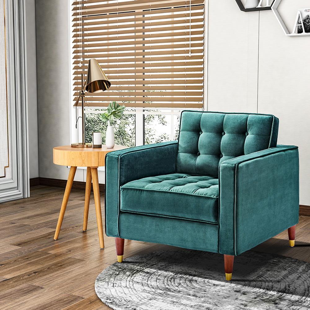 """Canapé en velours pour une personne de 33 """"pieds en bois de chêne, pour salon, appartement, studio, bureau - vert"""
