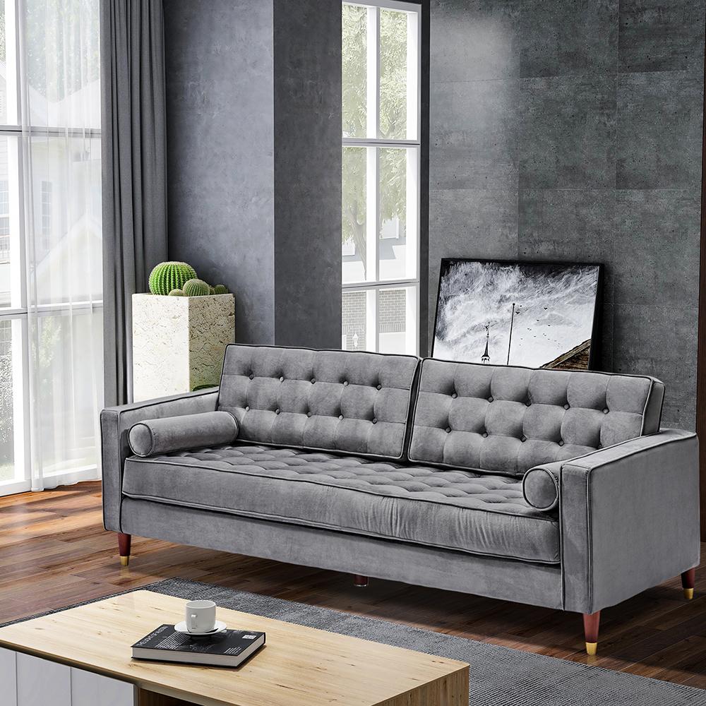 """Canapé en velours pour deux personnes de 81 """"pieds en bois de chêne, pour salon, appartement, studio, bureau - gris"""