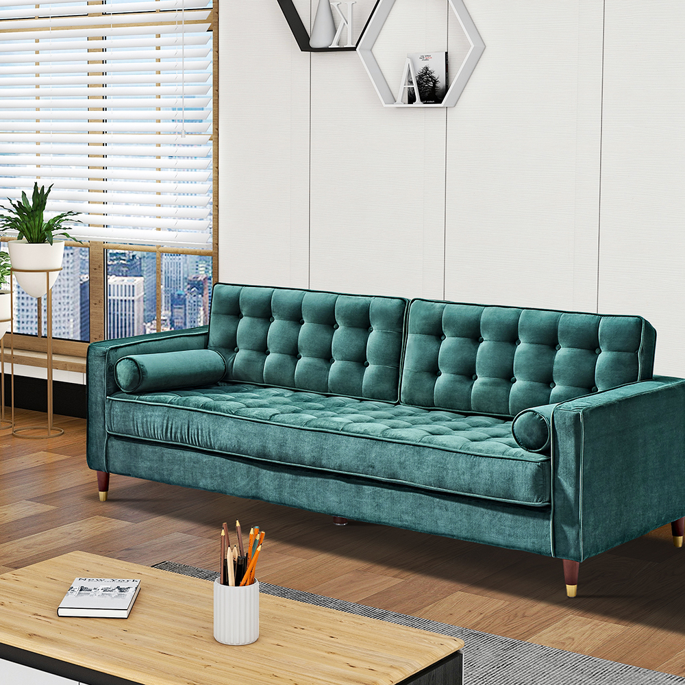 """Canapé en velours pour deux personnes de 81 """"pieds en bois de chêne, pour salon, appartement, studio, bureau - vert"""