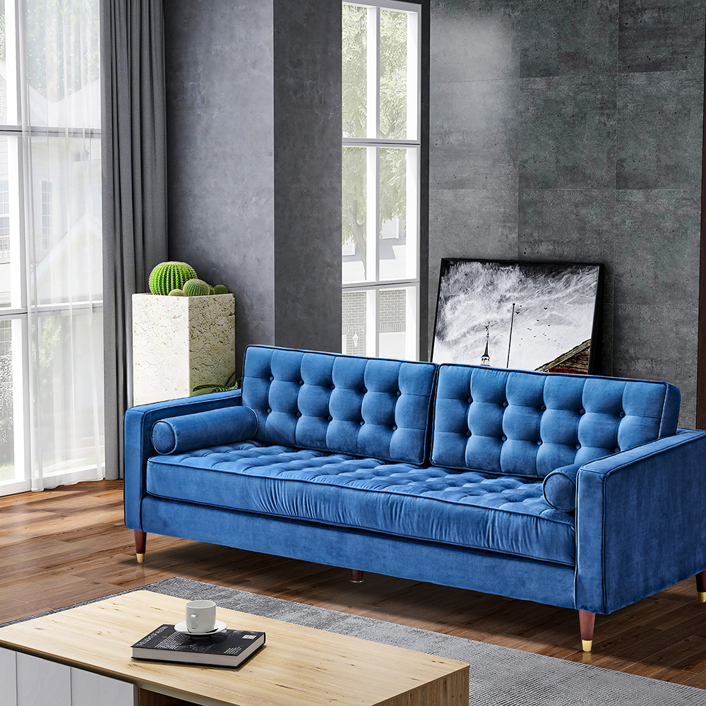 """Canapé en velours pour deux personnes de 81 """"pieds en bois de chêne, pour salon, appartement, studio, bureau - bleu"""