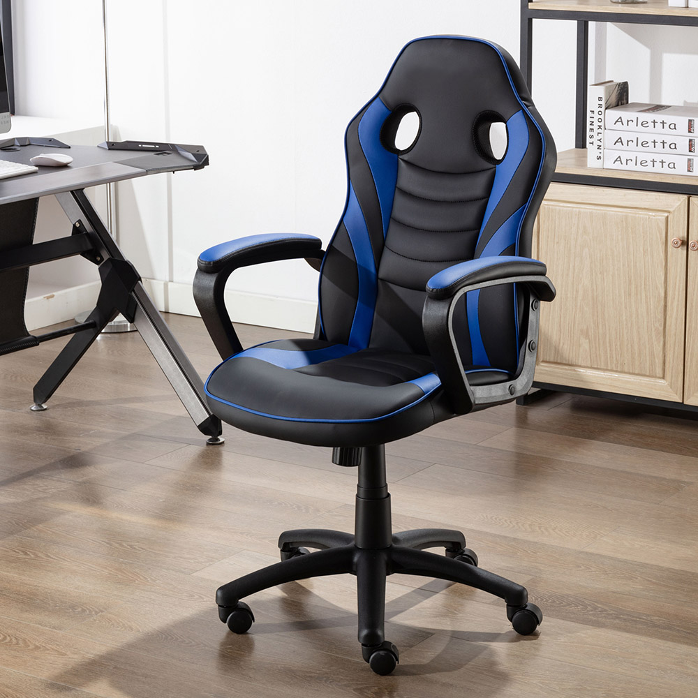 Art Life Home Office PU Leather Rotatable Gaming Chair Height Adjustable with Ergonomic Backrest and Casters - Blue