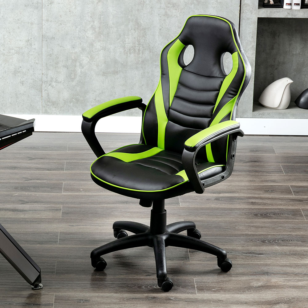 Art Life Home Office PU Leather Rotatable Gaming Chair Height Adjustable with Ergonomic Backrest and Casters - Green