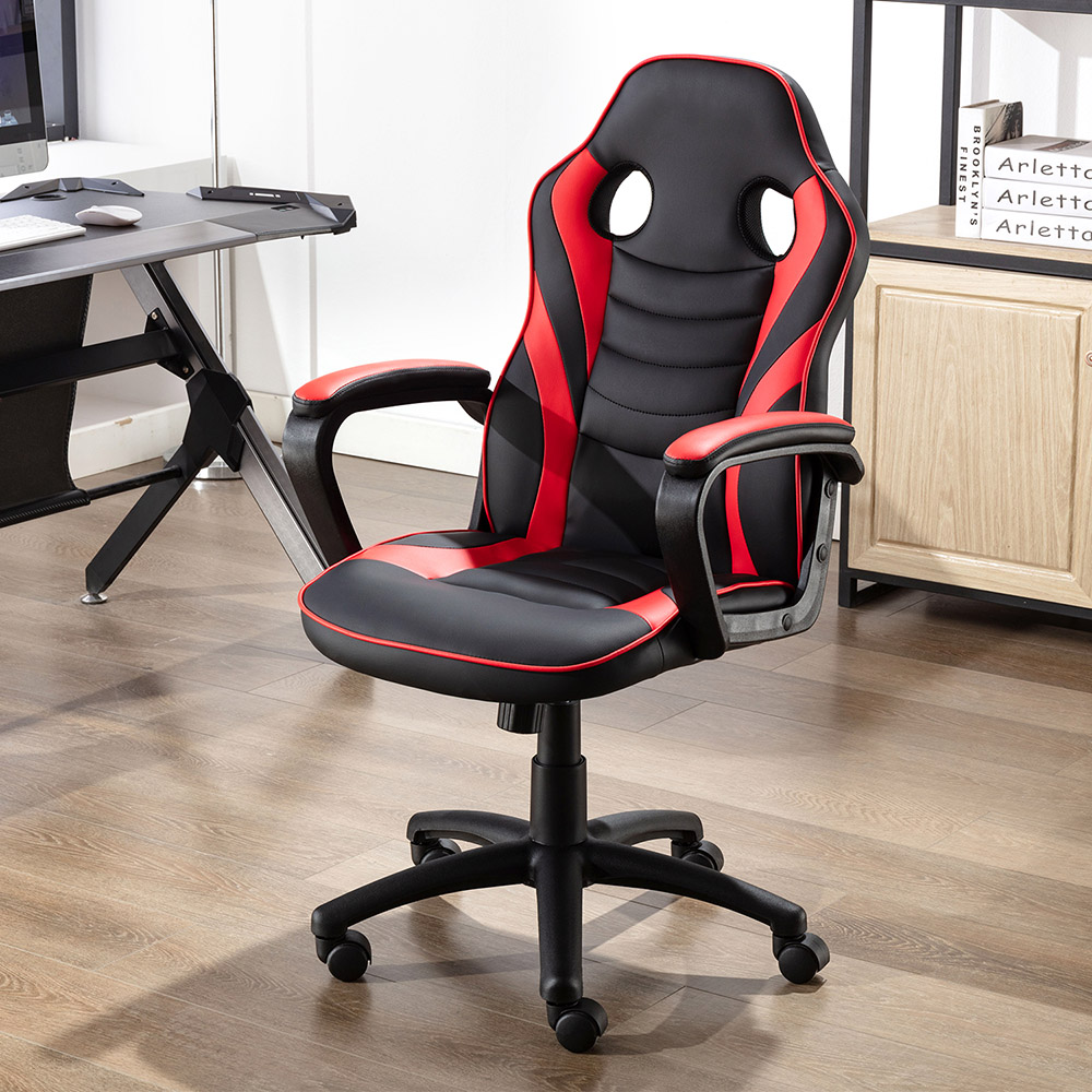 Art Life Home Office PU Leather Rotatable Gaming Chair Height Adjustable with Ergonomic Backrest and Casters - Red