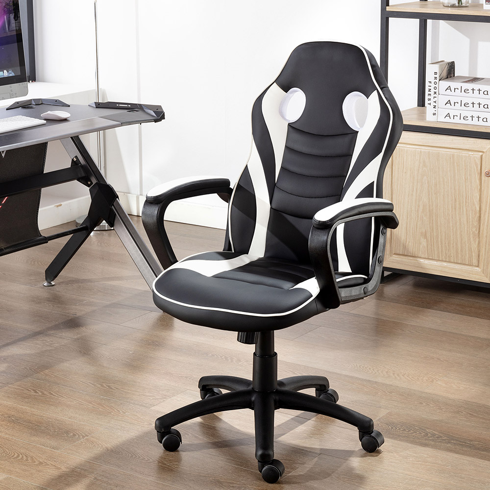 Art Life Home Office PU Leather Rotatable Gaming Chair Height Adjustable with Ergonomic Backrest and Casters - White
