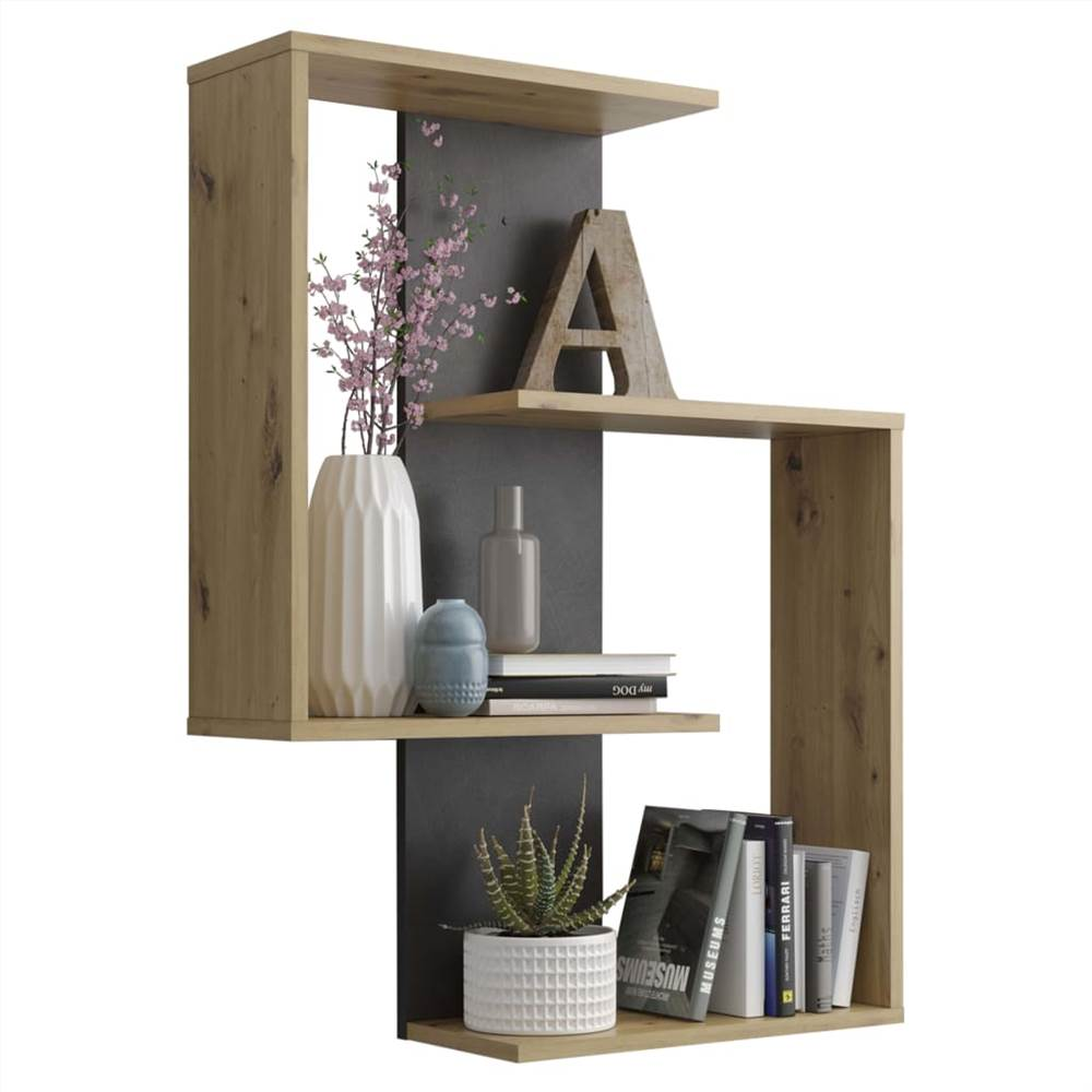 FMD Wall-mounted Reversed Shelf Artisan Oak Matera