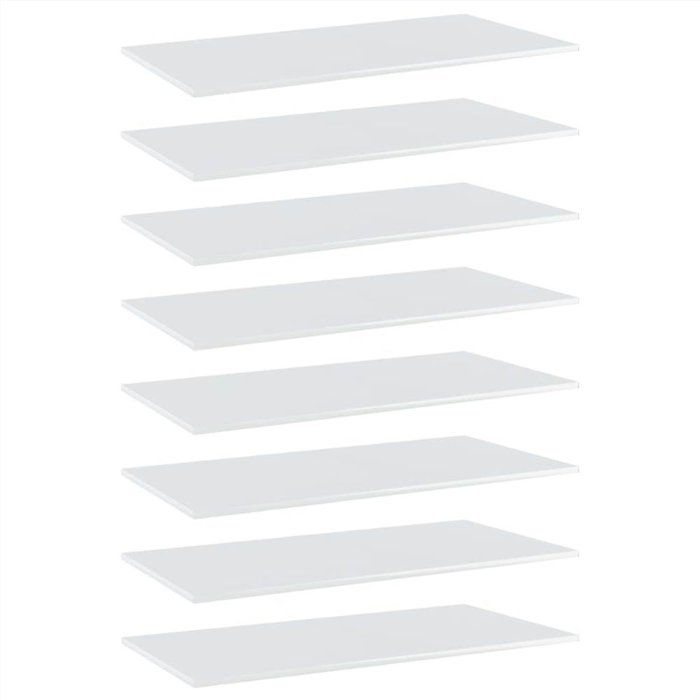 Bookshelf Boards 8 pcs High Gloss White 80x30x1.5 cm Chipboard