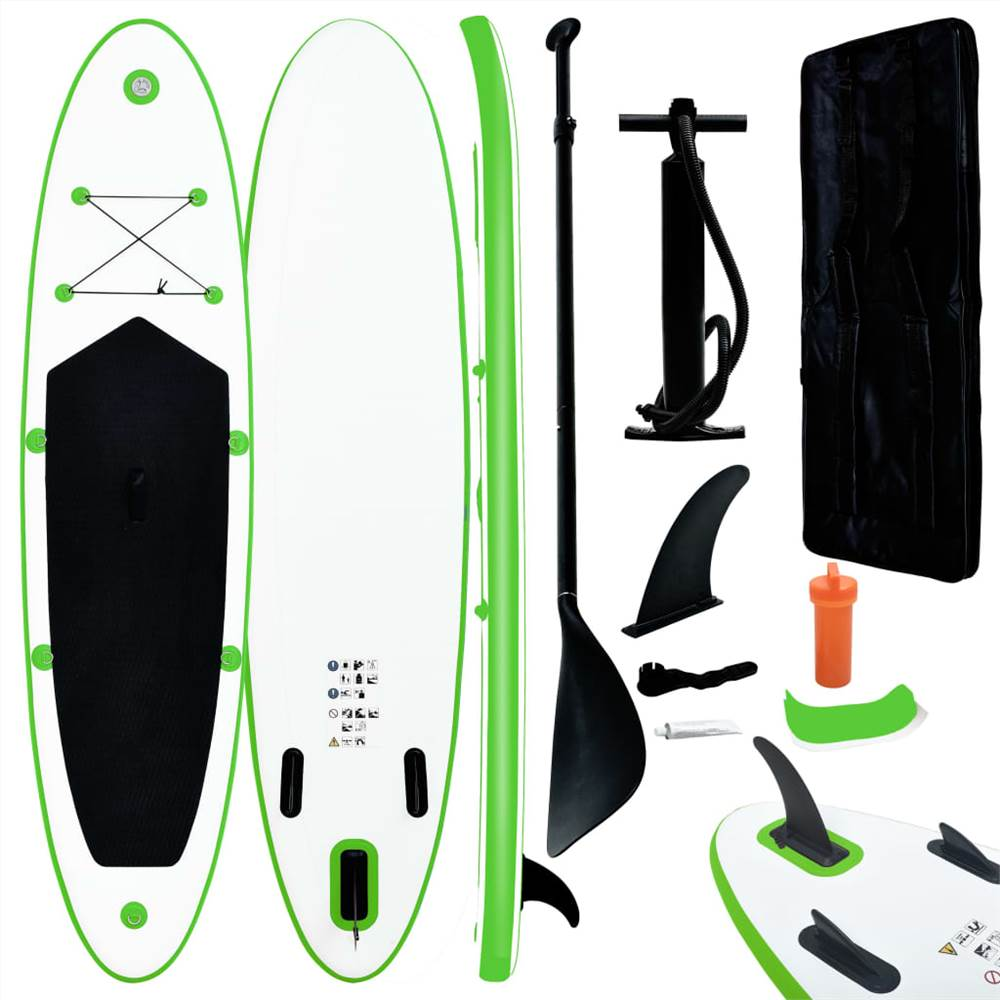 Надувная доска для серфинга Stand Up, зеленая и белая