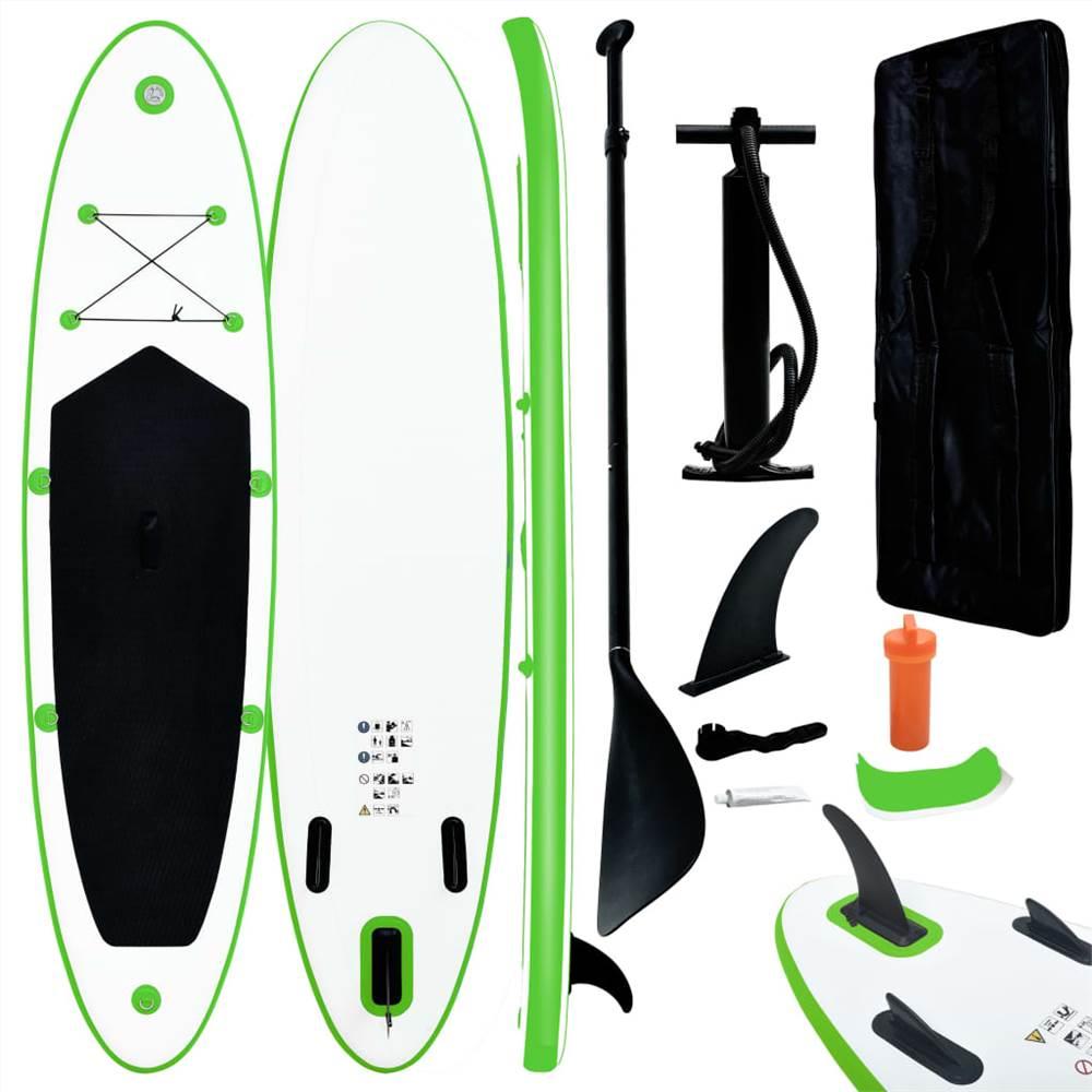 Φουσκωτό Stand Up Paddleboard Σετ Πράσινο και Λευκό