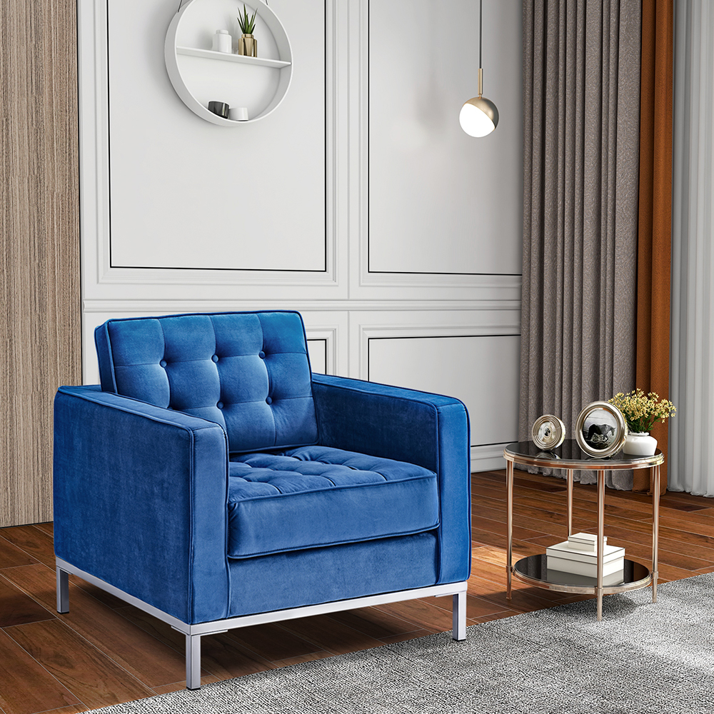 Canapé 1 place en velours avec dossier et accoudoirs pour salon, chambre, bureau, hôtel, bar - Bleu