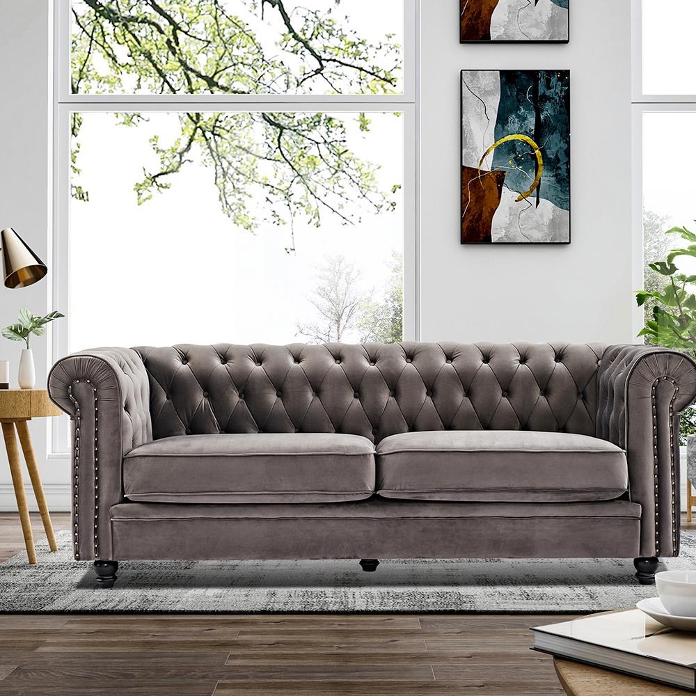 Canapé en velours 2 places pieds en bois de chêne massif pour salon, chambre à coucher, bureau, hôtel, bar, restaurant - gris